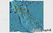 Satellite Panoramic Map of Vanuatu, shaded relief outside, satellite sea