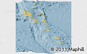 Savanna Style Panoramic Map of Vanuatu, single color outside