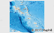 Shaded Relief Panoramic Map of Vanuatu, semi-desaturated, land only