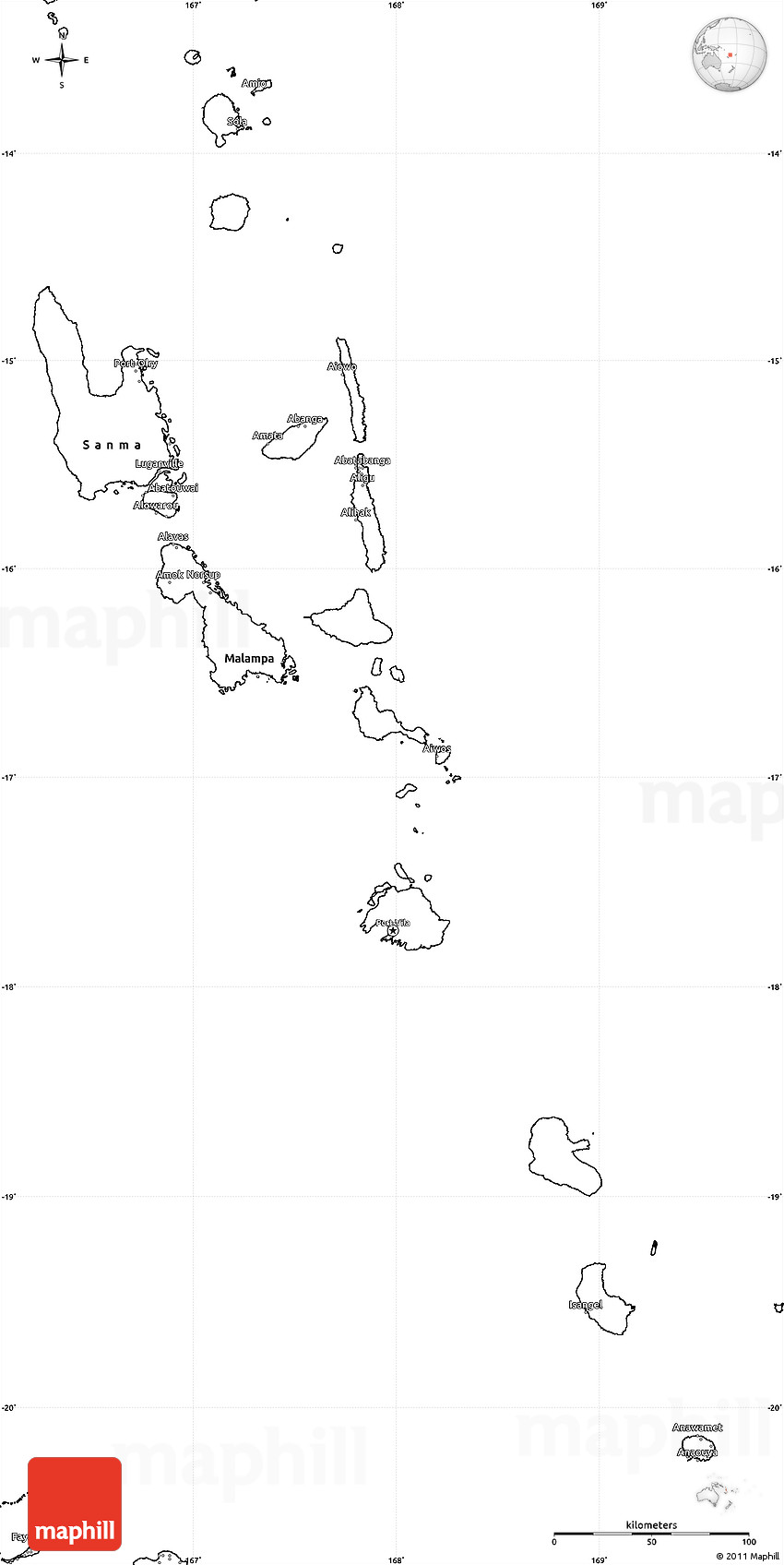 Blank Simple Map Of Vanuatu - Vanuatu map