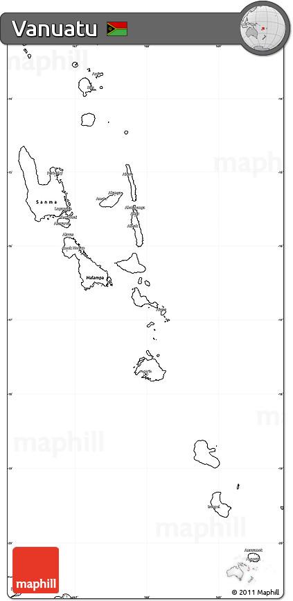 Free Blank Simple Map Of Vanuatu - Free blank maps