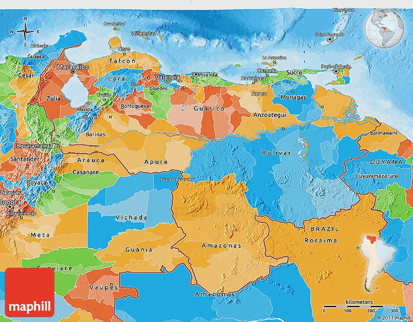 Political 3D Map of Venezuela