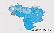 Political Shades 3D Map of Venezuela, cropped outside