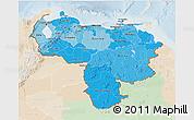 Political Shades 3D Map of Venezuela, lighten