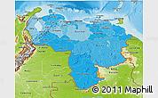 Political Shades 3D Map of Venezuela, physical outside