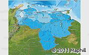 Political Shades 3D Map of Venezuela, satellite outside, bathymetry sea