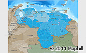 Political Shades 3D Map of Venezuela, semi-desaturated, land only