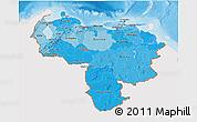 Political Shades 3D Map of Venezuela, single color outside