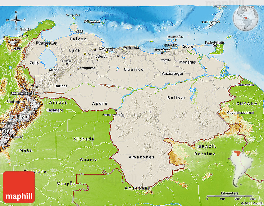 Shaded Relief D Map Of Venezuela Physical Outside - Physical of map venezuela