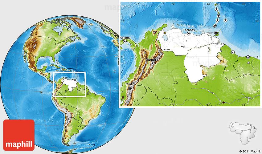 Blank Location Map Of Venezuela Physical Outside - Map of venezuela world