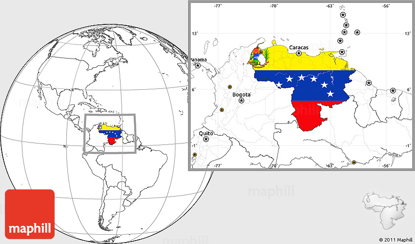 Flag Location Map Of Venezuela Blank Outside