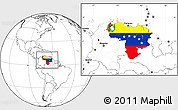 Flag Location Map of Venezuela, blank outside