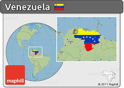 Free Flag Location Map of Venezuela savanna style outside