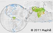 Physical Location Map of Venezuela, lighten, desaturated