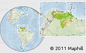 Physical Location Map of Venezuela, lighten