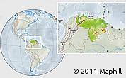 Physical Location Map of Venezuela, lighten, semi-desaturated