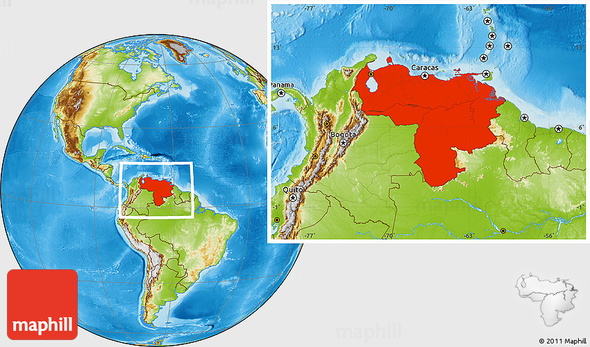 Physical Location Map Of Venezuela - Physical of map venezuela