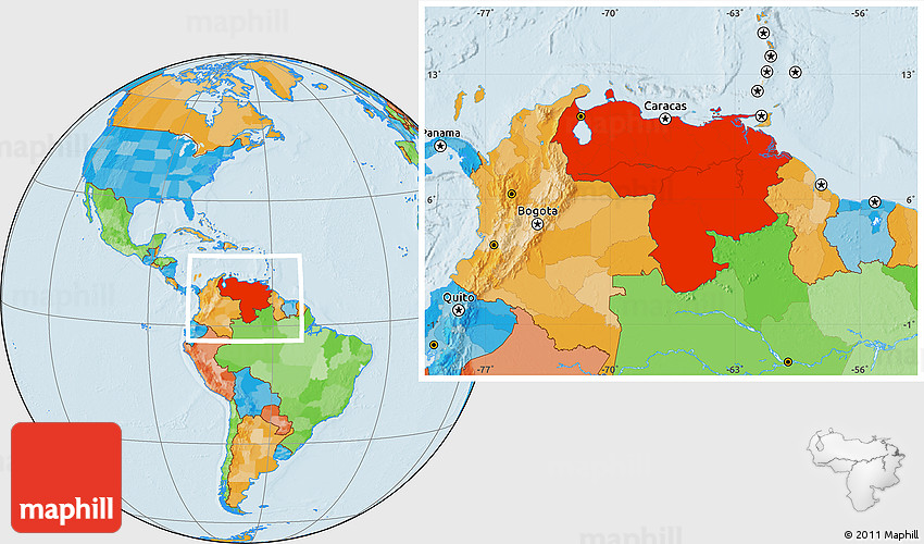Political Location Map of Venezuela