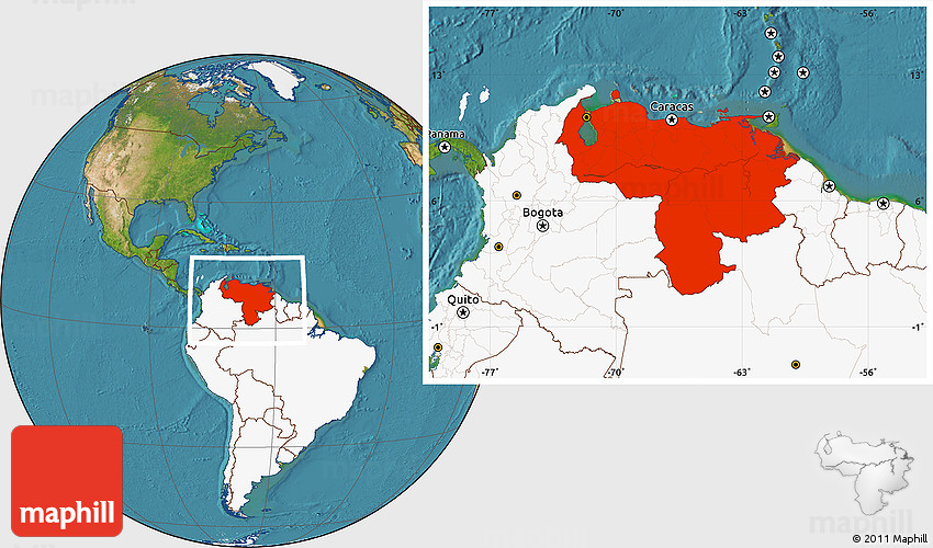 Satellite Location Map of Venezuela, highlighted continent