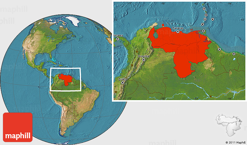 Satellite Location Map Of Venezuela