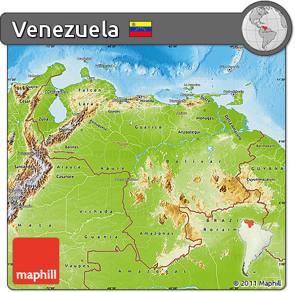 Free Physical Map of Venezuela