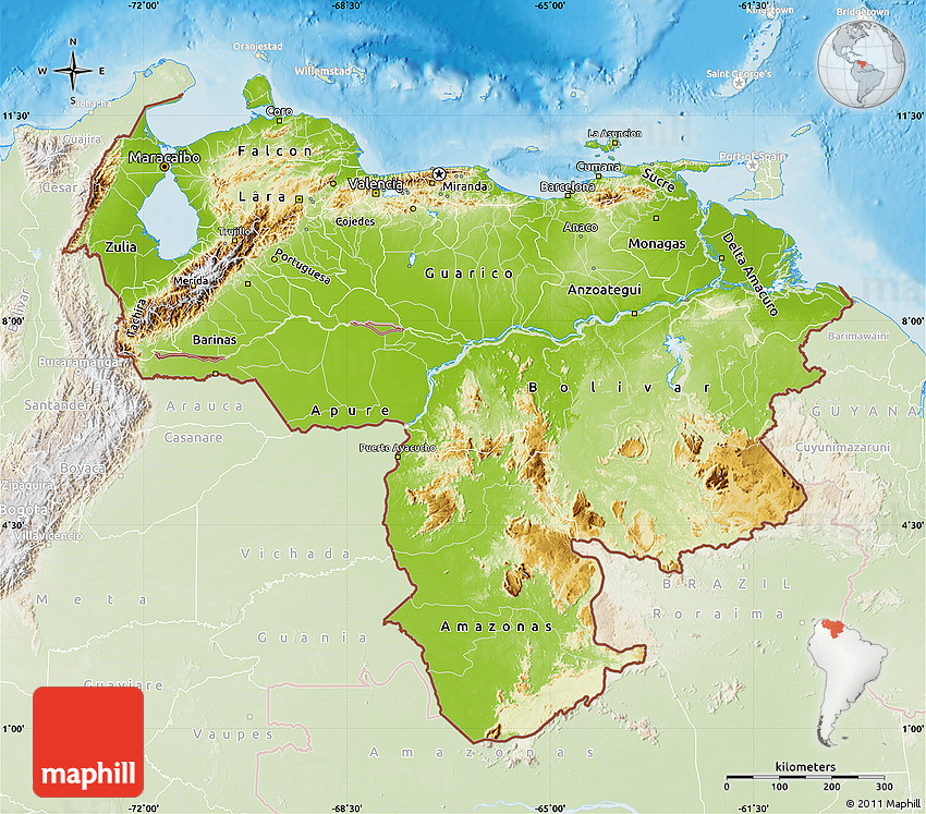 Physical Map of Venezuela lighten land only