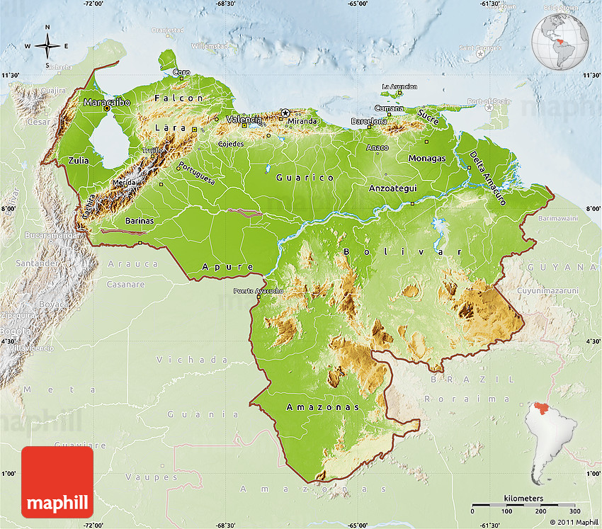 Physical Map Of Venezuela Lighten - Physical of map venezuela