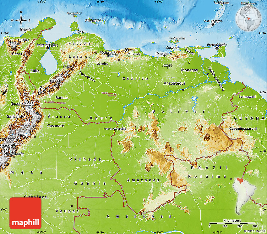 Physical Map Of Venezuela - Physical of map venezuela