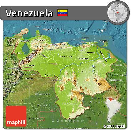 Free Physical Map of Venezuela satellite outside
