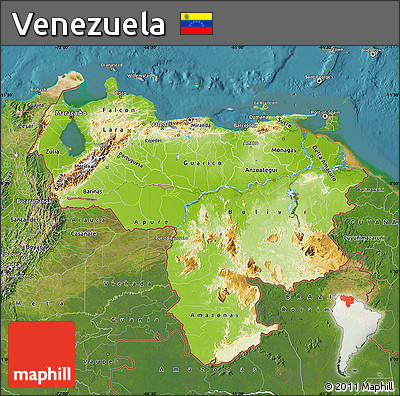 Free Physical Map Of Venezuela Satellite Outside - Physical of map venezuela