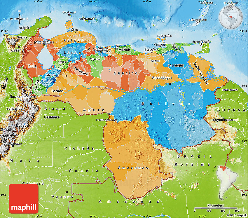 Political Map Of Venezuela Physical Outside - Physical of map venezuela