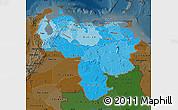 Political Shades Map of Venezuela, darken