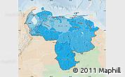 Political Shades Map of Venezuela, lighten