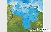 Political Shades Map of Venezuela, satellite outside, bathymetry sea