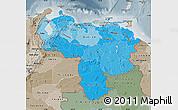 Political Shades Map of Venezuela, semi-desaturated