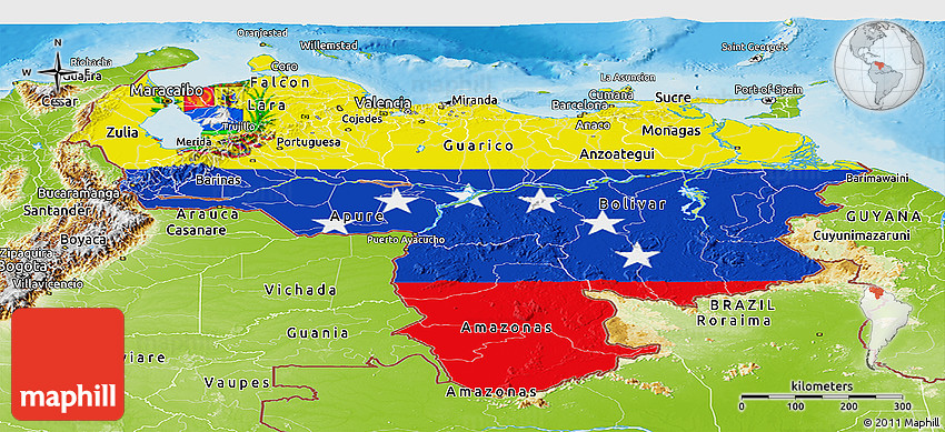 Flag Panoramic Map Of Venezuela Physical Outside - Physical of map venezuela