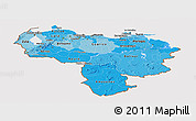 Political Shades Panoramic Map of Venezuela, cropped outside