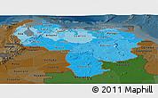 Political Shades Panoramic Map of Venezuela, darken