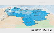 Political Shades Panoramic Map of Venezuela, lighten