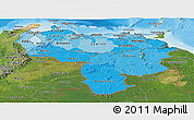 Political Shades Panoramic Map of Venezuela, satellite outside, bathymetry sea