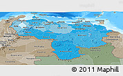 Political Shades Panoramic Map of Venezuela, semi-desaturated, land only