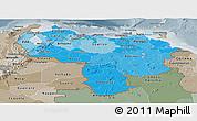 Political Shades Panoramic Map of Venezuela, semi-desaturated