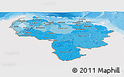 Political Shades Panoramic Map of Venezuela, single color outside