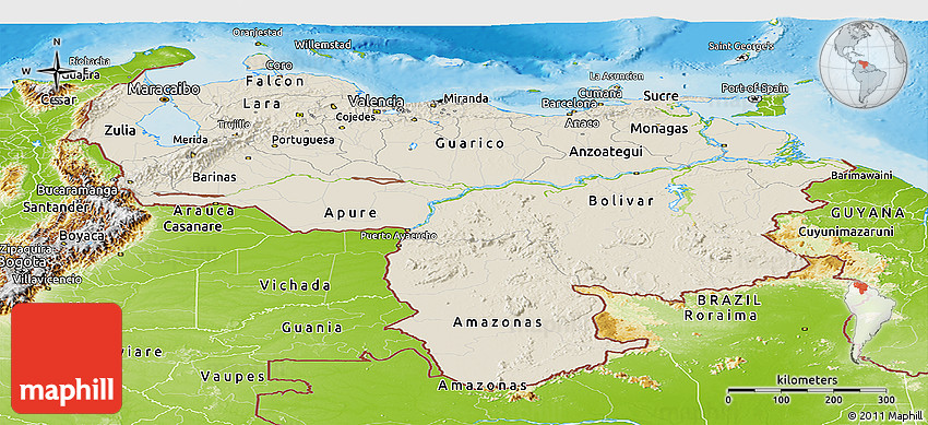Shaded Relief Panoramic Map Of Venezuela Physical Outside - Physical of map venezuela