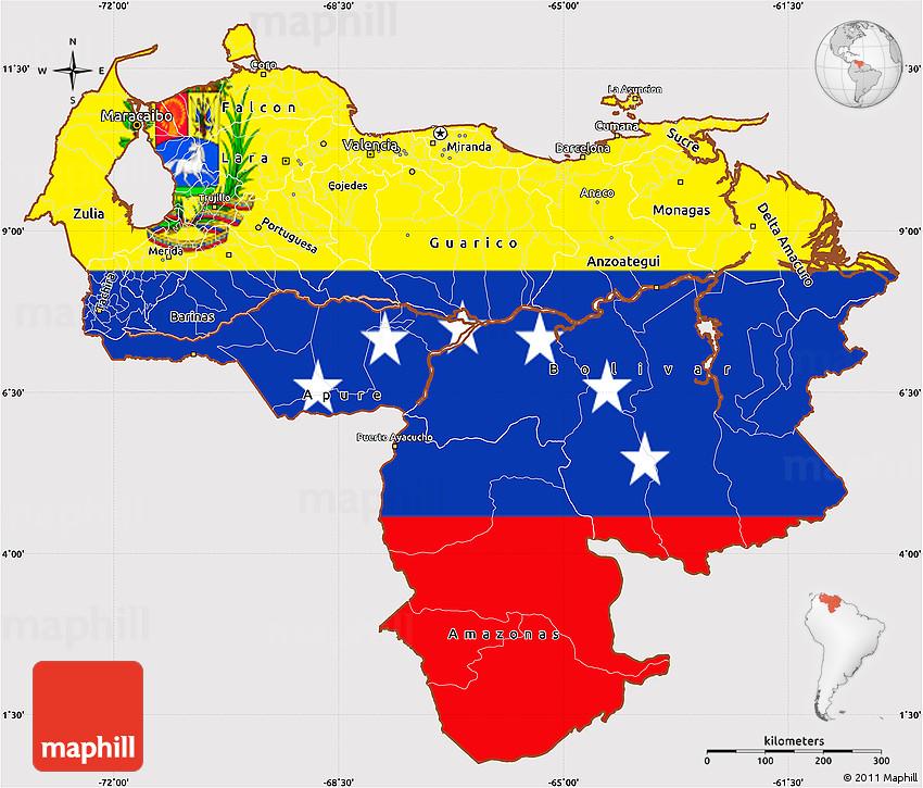 Flag Simple Map Of Venezuela - Venezuela map