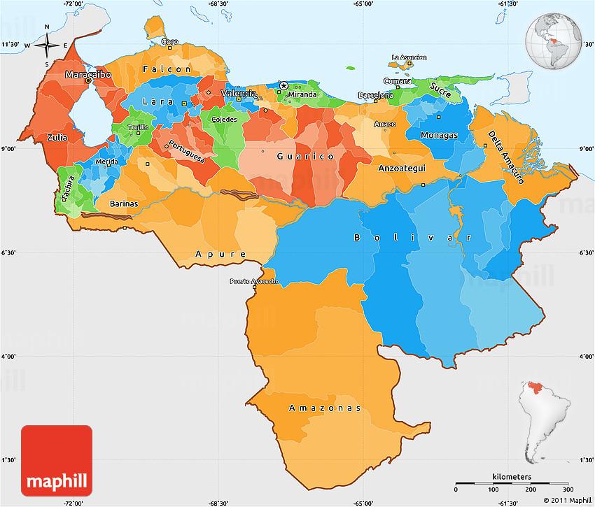 Political Simple Map of Venezuela, single color outside