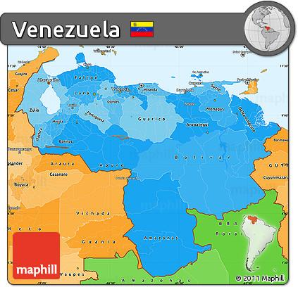Free Political Shades Simple Map of Venezuela