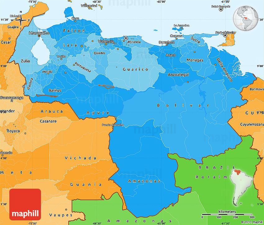 Political Shades Simple Map of Venezuela