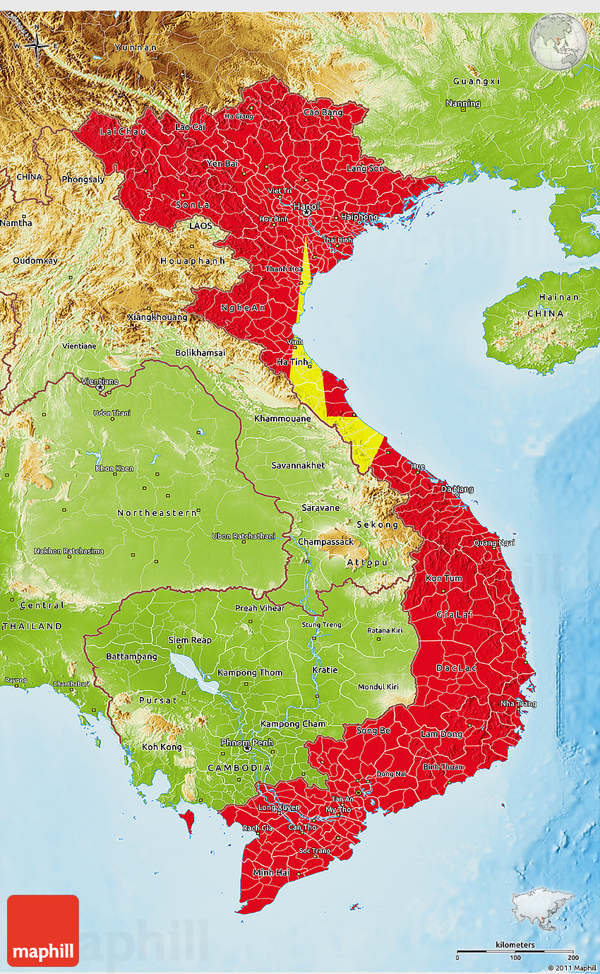 Flag 3D Map Of Vietnam, Physical Outside