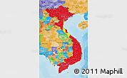 Flag 3D Map of Vietnam, political outside
